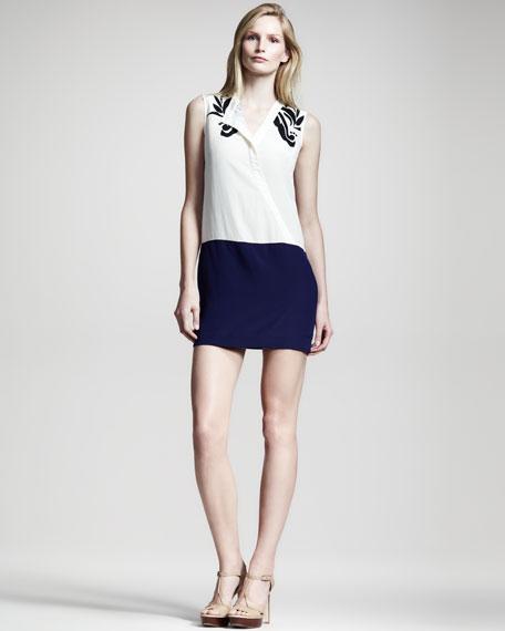 Colorblock Silk Dress
