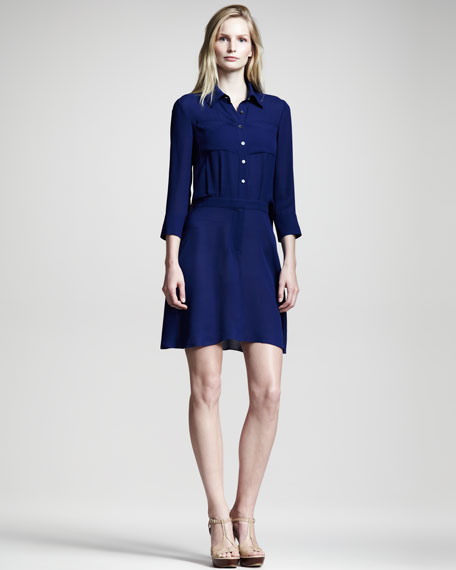Silk-Blend Shirtdress
