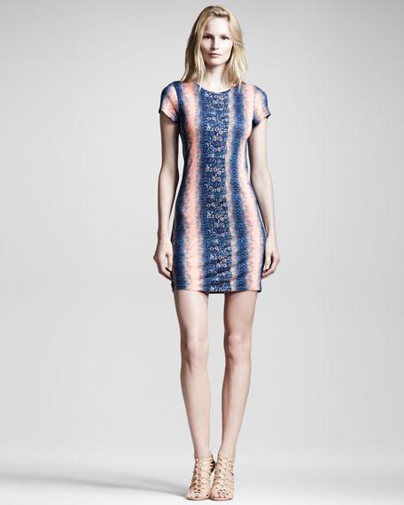 Lizard-Print Jersey Dress