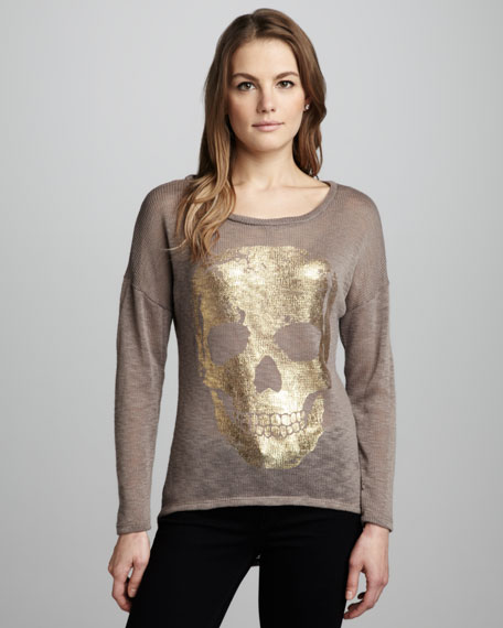 Foiled-Skull Knit Sweater