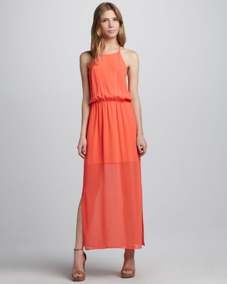 Sheer-Hem Maxi Dress