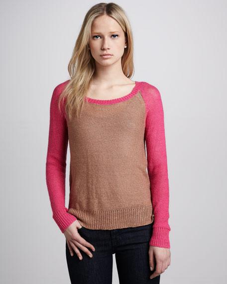 Colorblock Linen-Blend Sweater