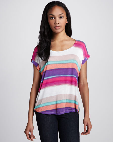 Watercolor-Stripe Slub Top