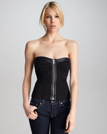 Leather-Trim Bustier