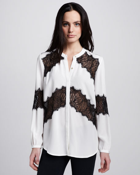Lace-Stripe Blouse