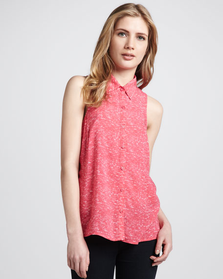 Slub Sleeveless Button-Down Blouse