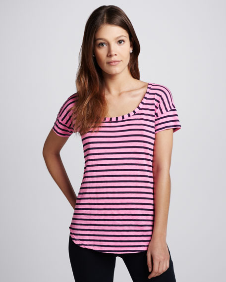 Striped Scoop-Neck Top