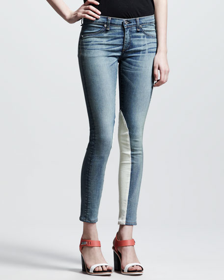 Jodhpur Leather-Panel Jeans