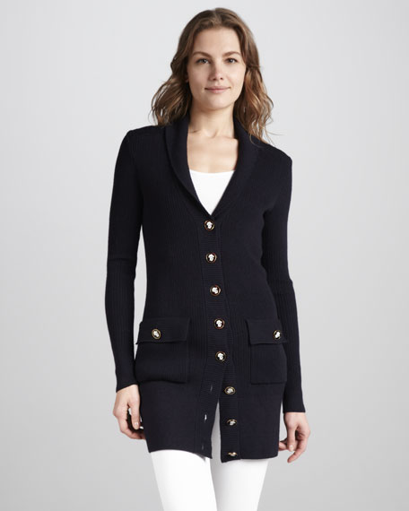 Tania Long Knit Cardigan, Navy