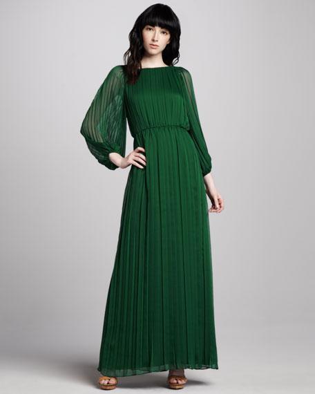 Jennie Pleated Sheer-Sleeve Maxi Dress