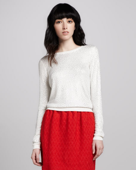 Cena Rhinestone-Stud Sweater
