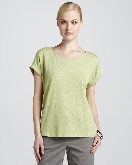Boxy Linen Jersey Top, Petite