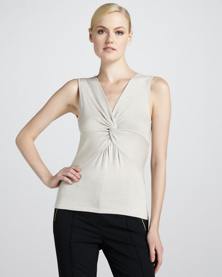 Crystal Silk-Knot Sleeveless Top