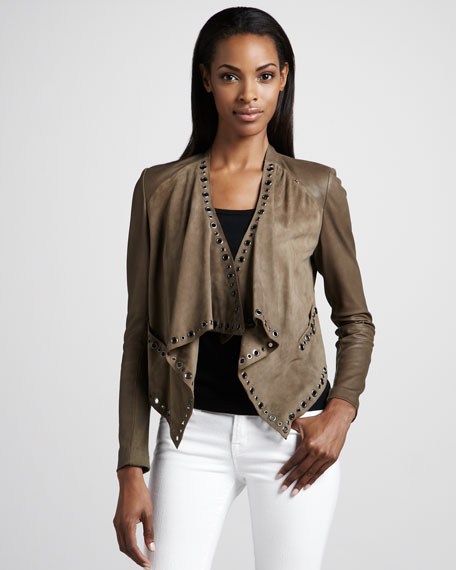 Neiman Marcus Leather Grommet Jacket