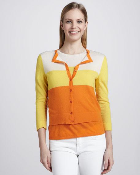 Cashmere Sunny-Striped Cardigan