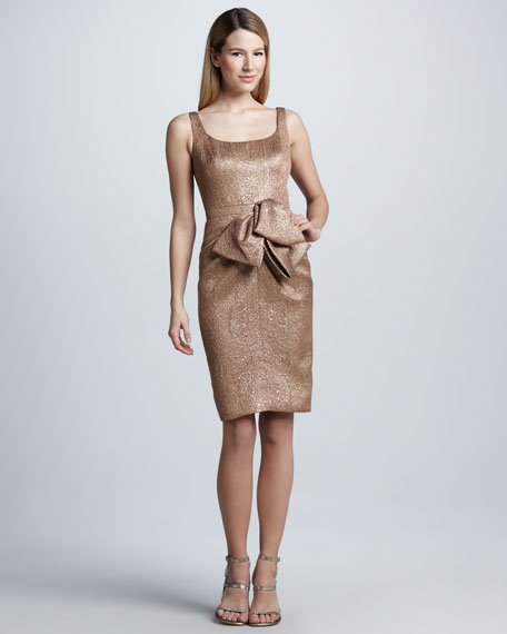 Metallic Bow-Waist Cocktail Dress