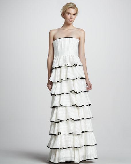 Aurora Strapless Tiered Gown