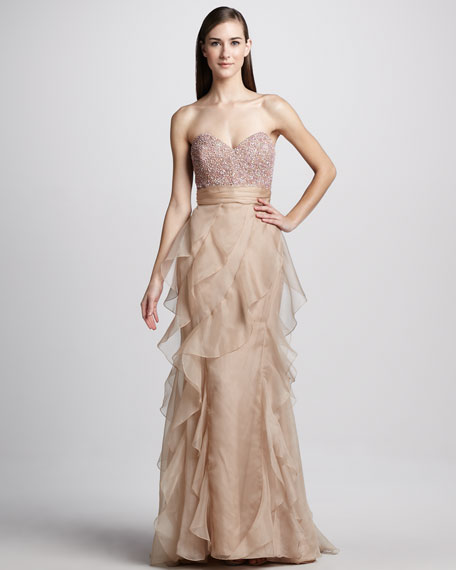 Strapless Bead-Top Ruffled Gown