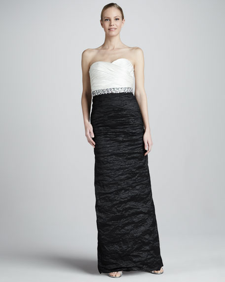Ruched Metallic Two-Tone Strapless Sweetheart Gown