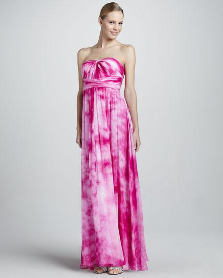 Strapless Tie-Dye Chiffon Gown