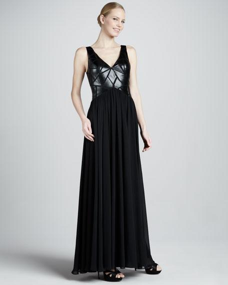 Aidan Mattox Pieced-Leather Bodice Gown