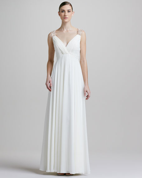 Sheer-Back Ruched Gown