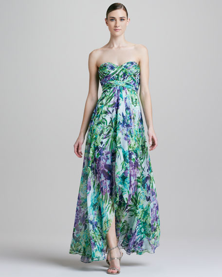 Strapless High-Low Printed Chiffon Gown