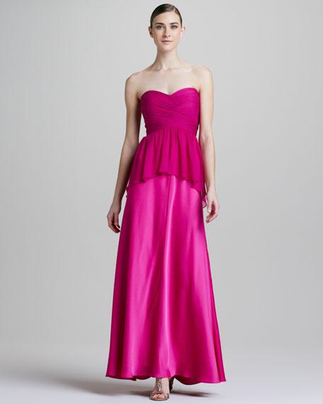 Strapless Peplum Combo Gown