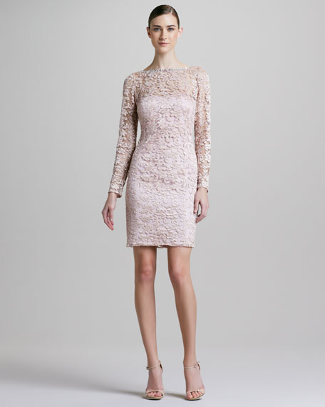 Long-Sleeve Lace-Overlay Cocktail Dress