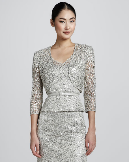 Sequined & Lace Overlay Bolero