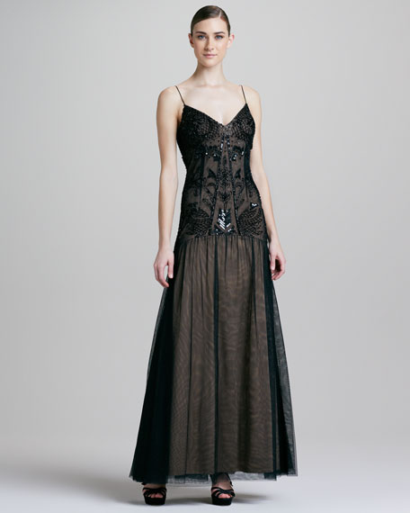 Beaded Drop-Waist Gown