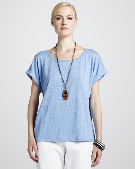 Boxy Linen Jersey Top, Women's