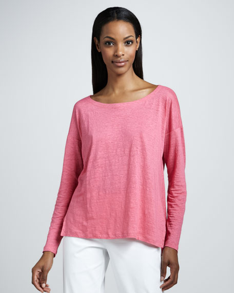 Linen Jersey Boxy Top,Women's