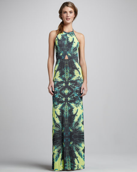 Isla Palm-Print Maxi Dress