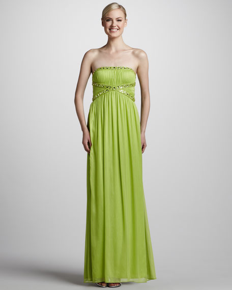 Strapless Gown with Crisscross Beading