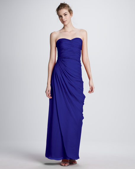 Bead-Trim Strapless Ruched Gown