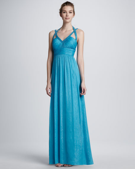 Ruched Chiffon Halter Gown