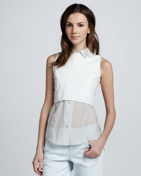 Borty Cropped Leather Top