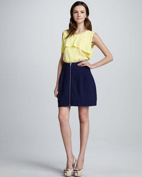 Zip-Front Textured Skirt