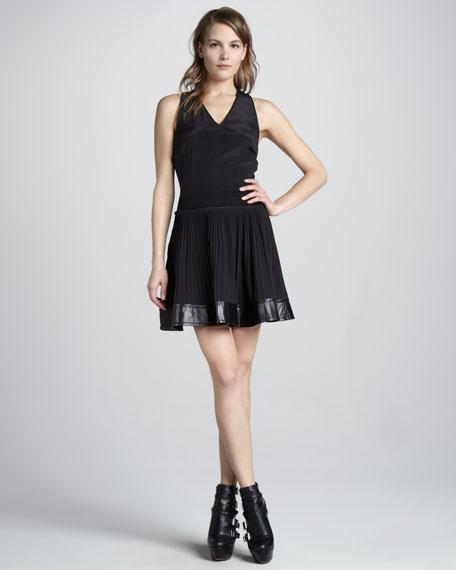 Pleat-Skirt Satin Dress
