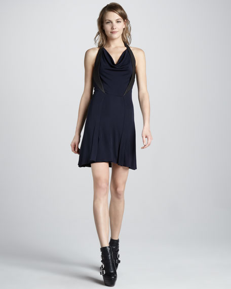 Leather-Trim Jersey Dress