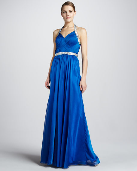 Beaded Halter Gown with Crisscross Back