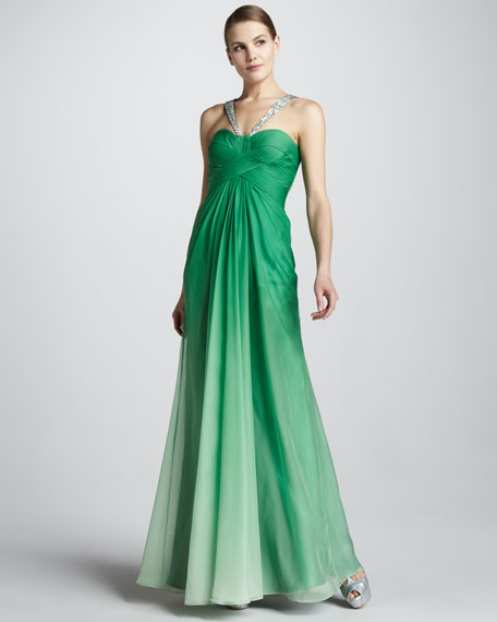 Ombre Gown with Basket-Weave Bodice