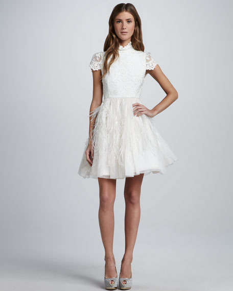 Alice + Olivia Feather-Skirt Open-Back Dress