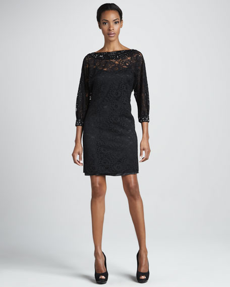 Bead-Trim Lace Cocktail Dress