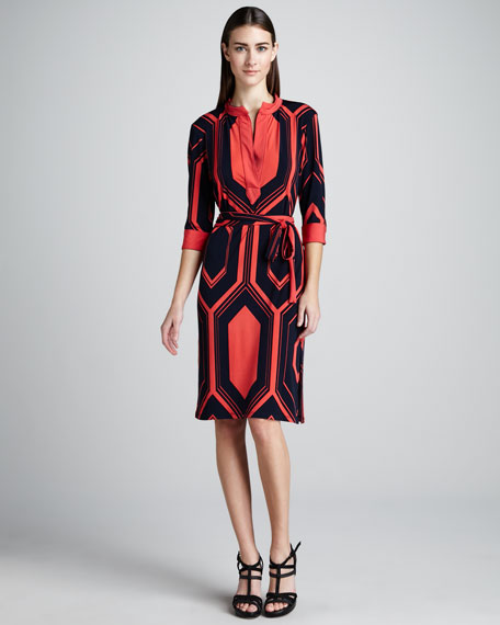 Hexagon-Print Jersey Dress