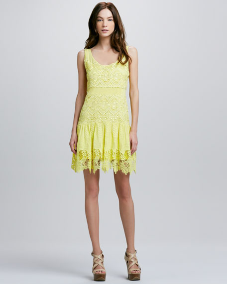 Floral-Hem Mixed Lace Dress