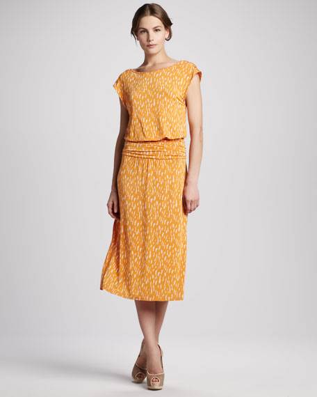 Animal-Print Tie-Back Midi Dress