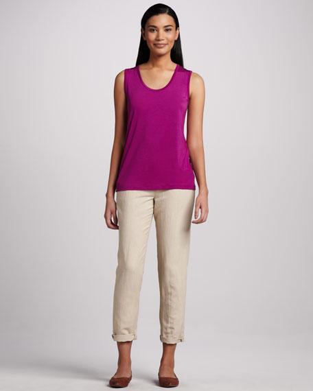 Silk-Blend Slim Pants, Khaki