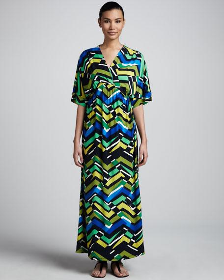 Zigzag-Print Maxi Dress, Women's